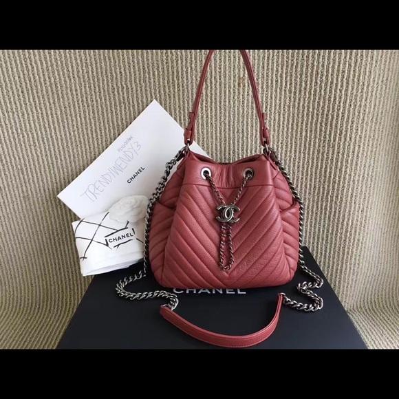 afeb4ecc0f69 Bags | Chanel Red Chevron Chain Buckle Drawstring Bag | Poshmark
